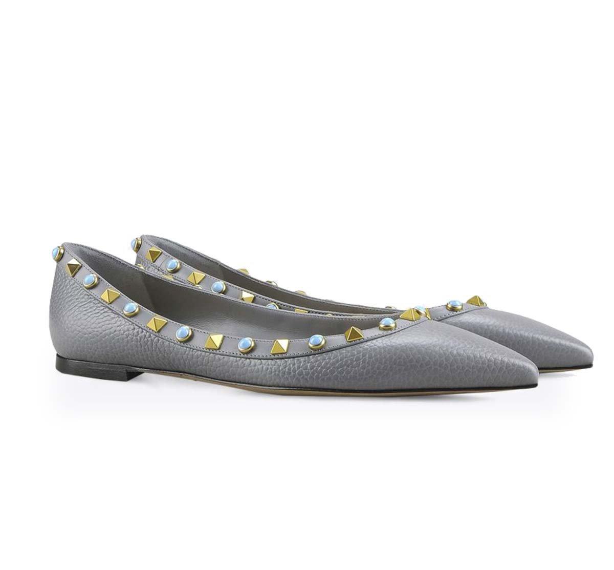 GONGFF Flache Spitze Niet Schuhe Frauen Ballett Schuhe Pumpe Sandalen,#5,35  35|#5