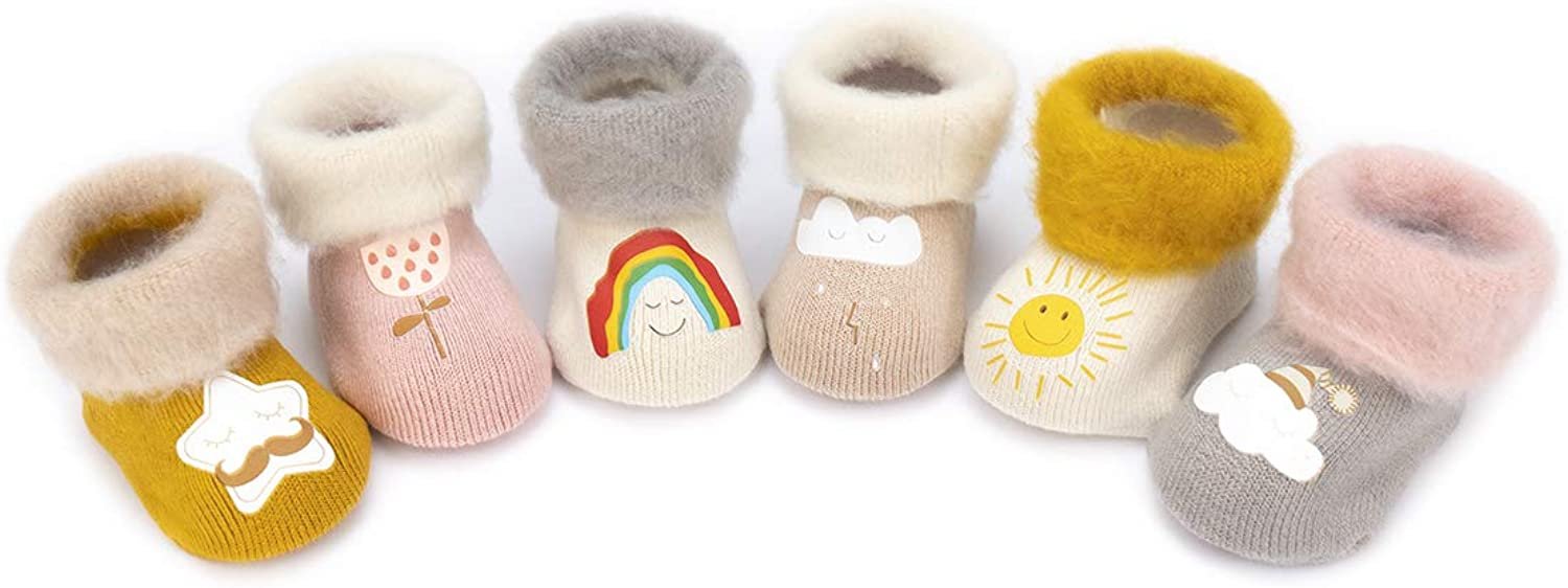 Adorel Baby Girls Thick Socks Warm Winter Cotton Pack of 6