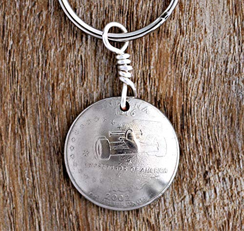 Indiana Keychain, Domed Coin, State U.S. Commemorative Quarter Race Car Key Ring, 2002