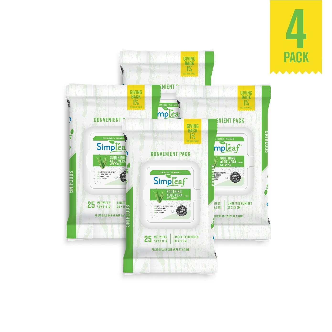 Soothing Aloe Vera /& Vitamin E Formula | Hypoallergenic /& Safe for Sensitive Skin Eco- Friendly Paraben /& Alcohol Free Simpleaf Flushable Wet Wipes 2 Pack 25-Count