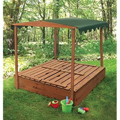 Badger Basket Covered Convertible Cedar Sandbox with Canopy and Bench Seats: Toys & Games