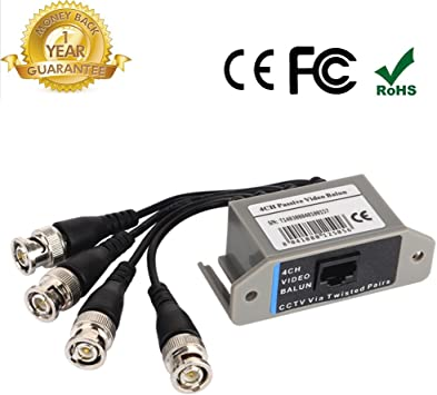 4 Canal Transceptor de vídeo Balun Coaxial Cable, BNC a UTP Pasivo transmisión unshield CAT5 RJ45