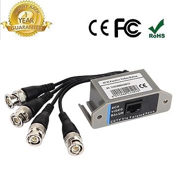 4 Canal Transceptor de vídeo Balun Coaxial Cable, BNC a UTP Pasivo transmisión unshield CAT5