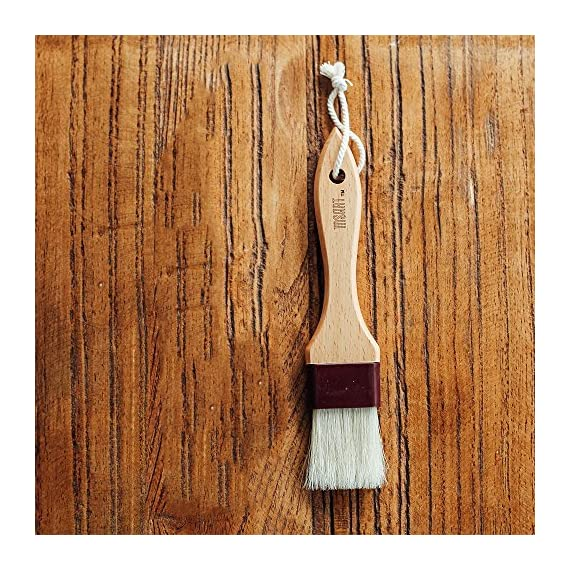 Pastry Brush Natural Bristle Wooden, MSART Basting/Food Brush, with Beech Wood Handle and Rope Hook, Great for Butter, Cookies, Oil, Bread, Frosting 7 MADE WITH BEECH WOOD AND BOAR BRISTLES - Has a handle made of beech wood and brush made of natural boar bristles. GOOD FOR BAKING - Use for a variety of kitchen purposes such as glazing, basting, spreading sauces, egg wash, and more; also great for delicious candy making. SMOOTH NATURAL BOAR BRISTLES - Natural boar bristles hold the moist liquid properly and smoothly spread it on the pastry, candy or cake surface.