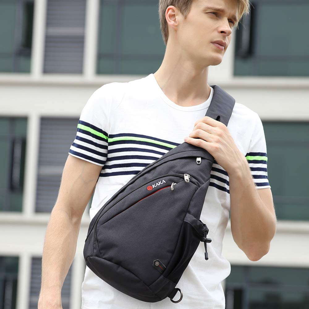 Mens Sling Bag, Crossbody Backpack Canvas Waterproof Daypack Casual Shoulder Bag Traveling Hiking Camping for Men and Women