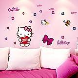 Fangeplus(TM) DIY Removable Hello Kitty Art Mural Vinyl Waterproof Wall Stickers Kids Room Decor Nursery Decal Sticker Wallpaper 27.5''x19.6''