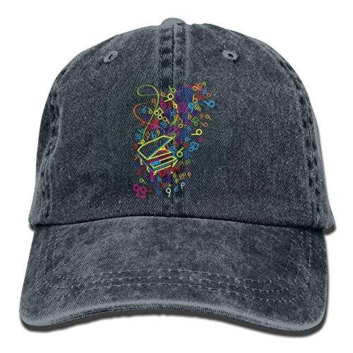 Musical Baseball (Musical Note Piano Denim Hat Adjustable Unisex Plain Baseball Cap)