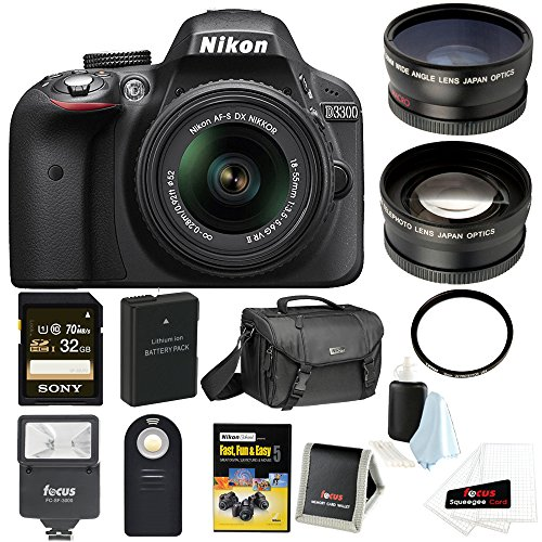 Nikon D3300 DSLR Camera with 18-55mm lens and Nikon Case with 32GB card + Bundle