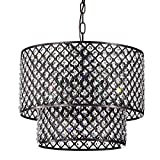 Marya 8-Light Oil Rubbed Bronze Round Double Beaded Drum Shade Crystal Chandelier | ORB | Glam Lighting For Sale