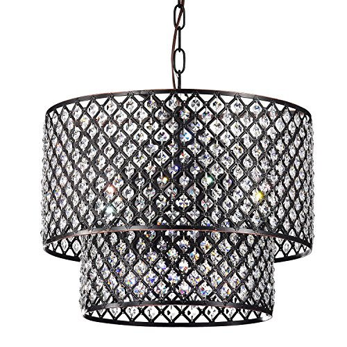 Marya 8-Light Oil Rubbed Bronze Round Double Beaded Drum Shade Crystal Chandelier | ORB | Glam Lighting