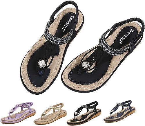 Dressin 2019 Fashion New Womens Shoes Bohemian Casual Rhinestone Sandals Womens Thong Toes Flats Casual Beach Sandals