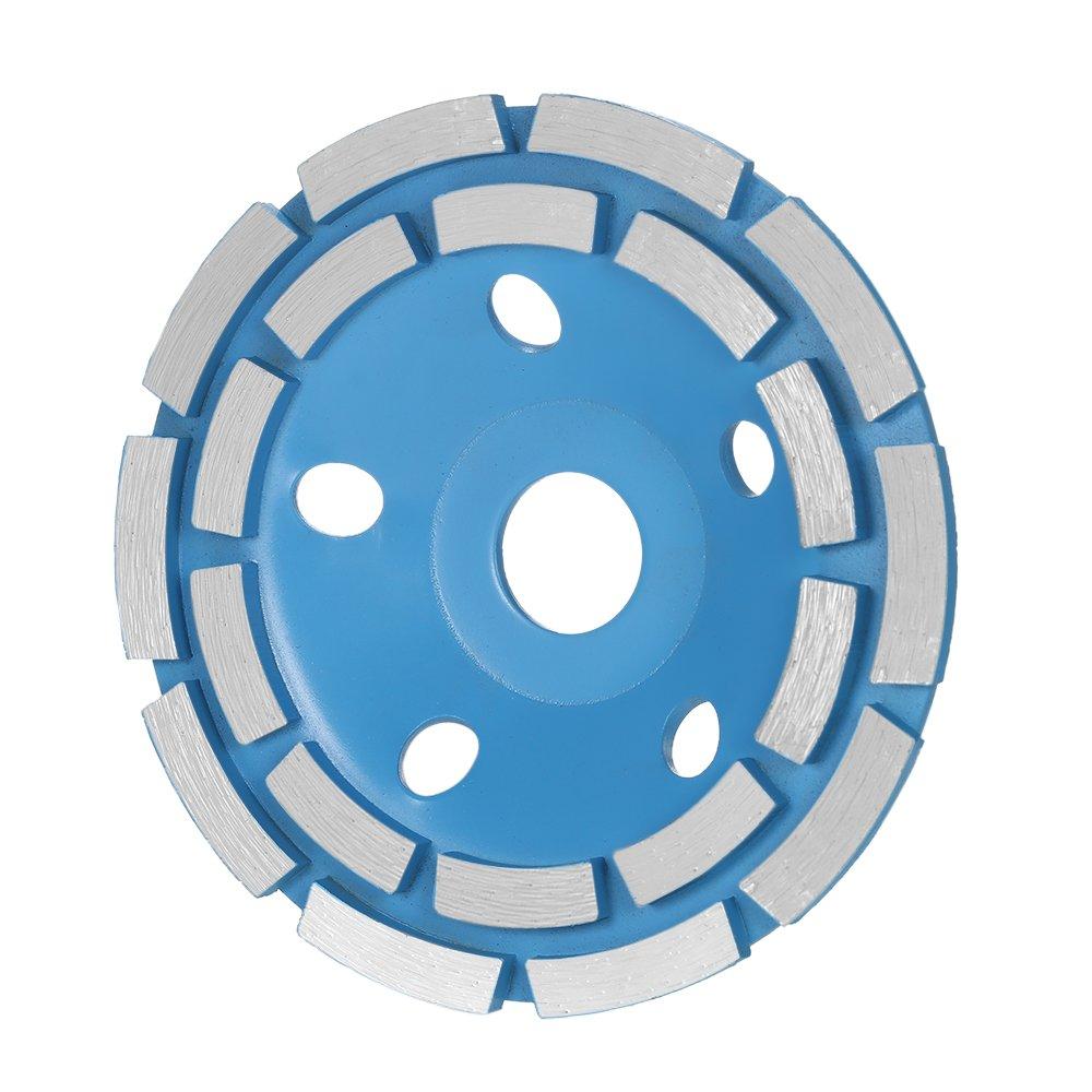 KKmoon 125mm 5' Diamante 2 hileras Segmento disco de rueda de molienda en forma de cuenco Molinillo taza 22 mm agujero interior para hormigó n Granito de piedra