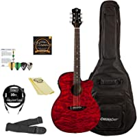 Luna Guitars Gypsy Quilt Ash Acoustic-Electric Guitar Kit with ChromaCast Accessories, Trans Red