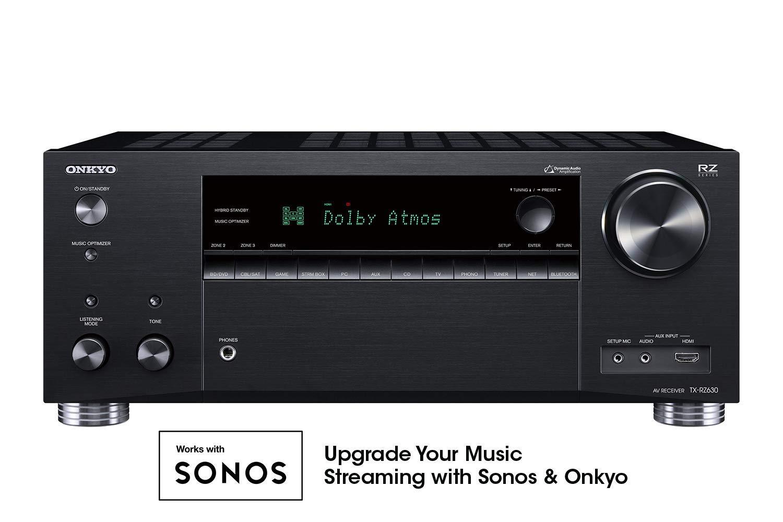 Onkyo TX-RZ630 9.2 Channel 4K Network A/V Receiver Black (Renewed)