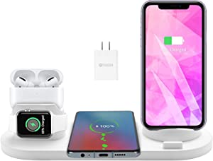 Wireless Charger,HeanYosn 4 in 1 Wireless Charger Stand,Charging Station for Multiple Devices,Qi Fast Wireless Charging Dock Compatible with iPhone 12 11 Xs XR X 8 iWatch 6 SE 5 4 Airpods Pro 2(White)