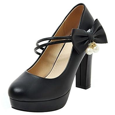 COOLCEPT Damen Klassische Mary Janes Pumps Knochelriemchen Schuhe Blockabsatz (34 EU, Black)