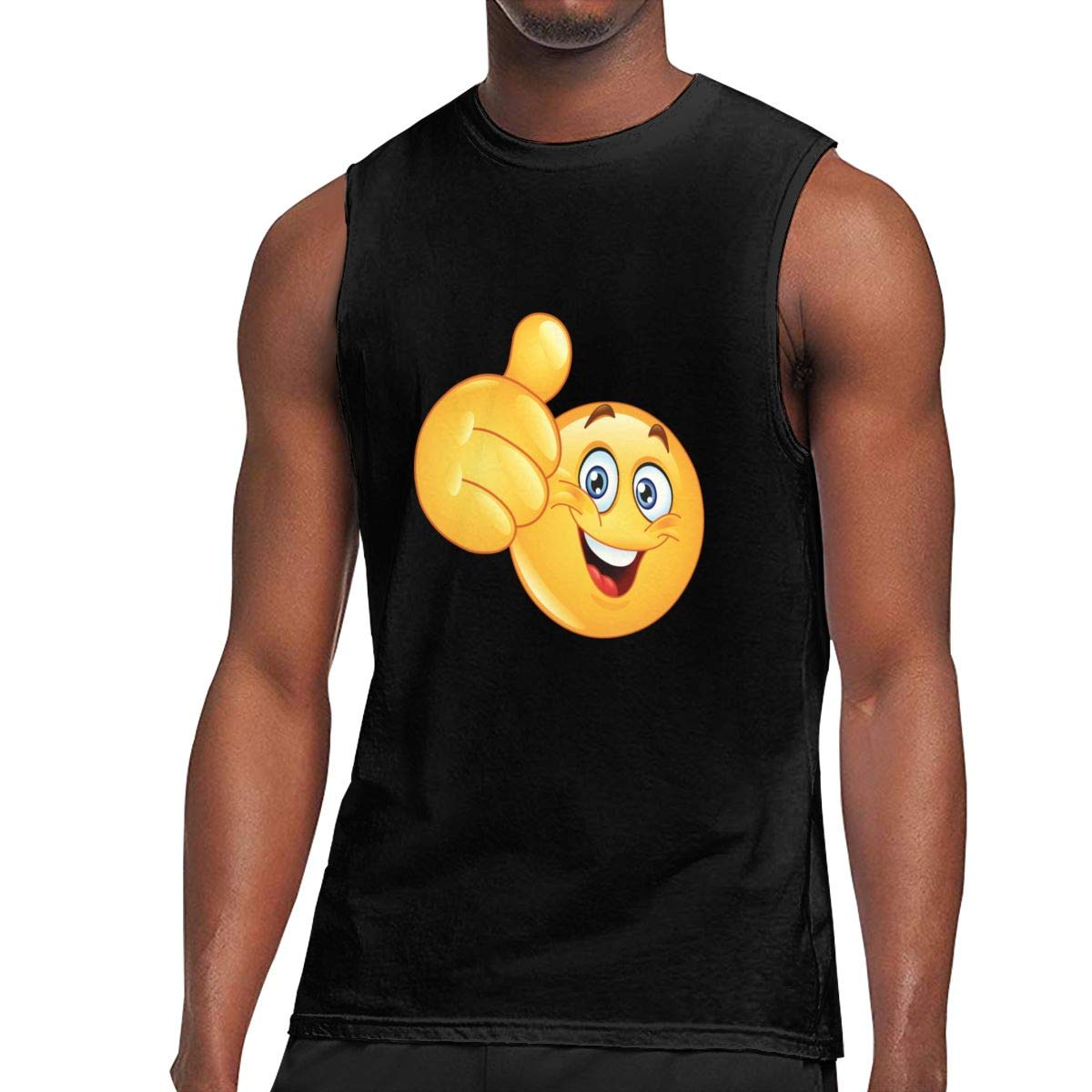 Seuriamin Smiley Face Thumb Up Tennis Sleeveless Muscle Short Sleeve Shirt