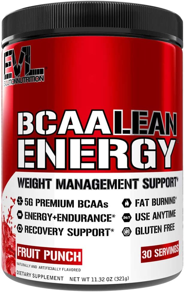 Evlution Nutrition BCAA Lean Energy - Suplemento de Amino Ácidos para Desarrollo Muscular, Recuperación y Resistencia. Con fórmula quema grasa. 30 Porciones (Ponche de Frutas)