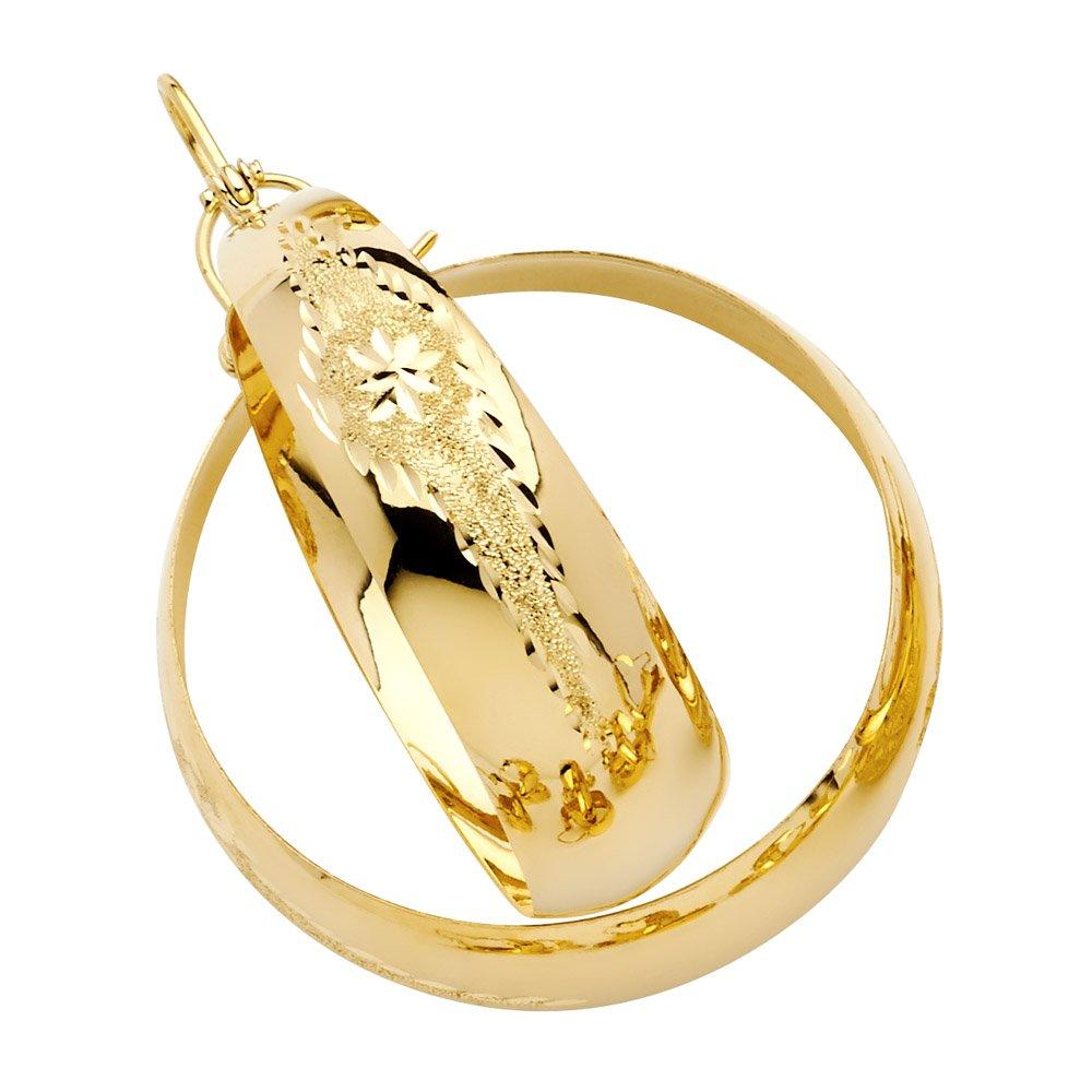 14k Yellow Gold Etched Bangle Hoop Earrings (40mm Diameter)