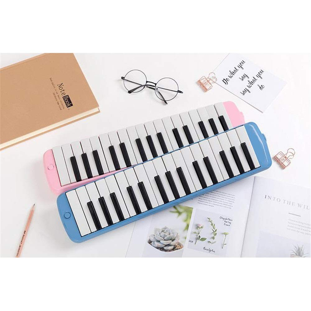 Melodica Musical Instrument 32 Keys Piano Keyboard Style Melodica With Portable Carrying Case Kids Musical Instrument Gift Toys For Music Lovers Beginners Mouthpieces Tube Sets Blue Pink for Music Lov by Shirleyle-MU (Image #5)