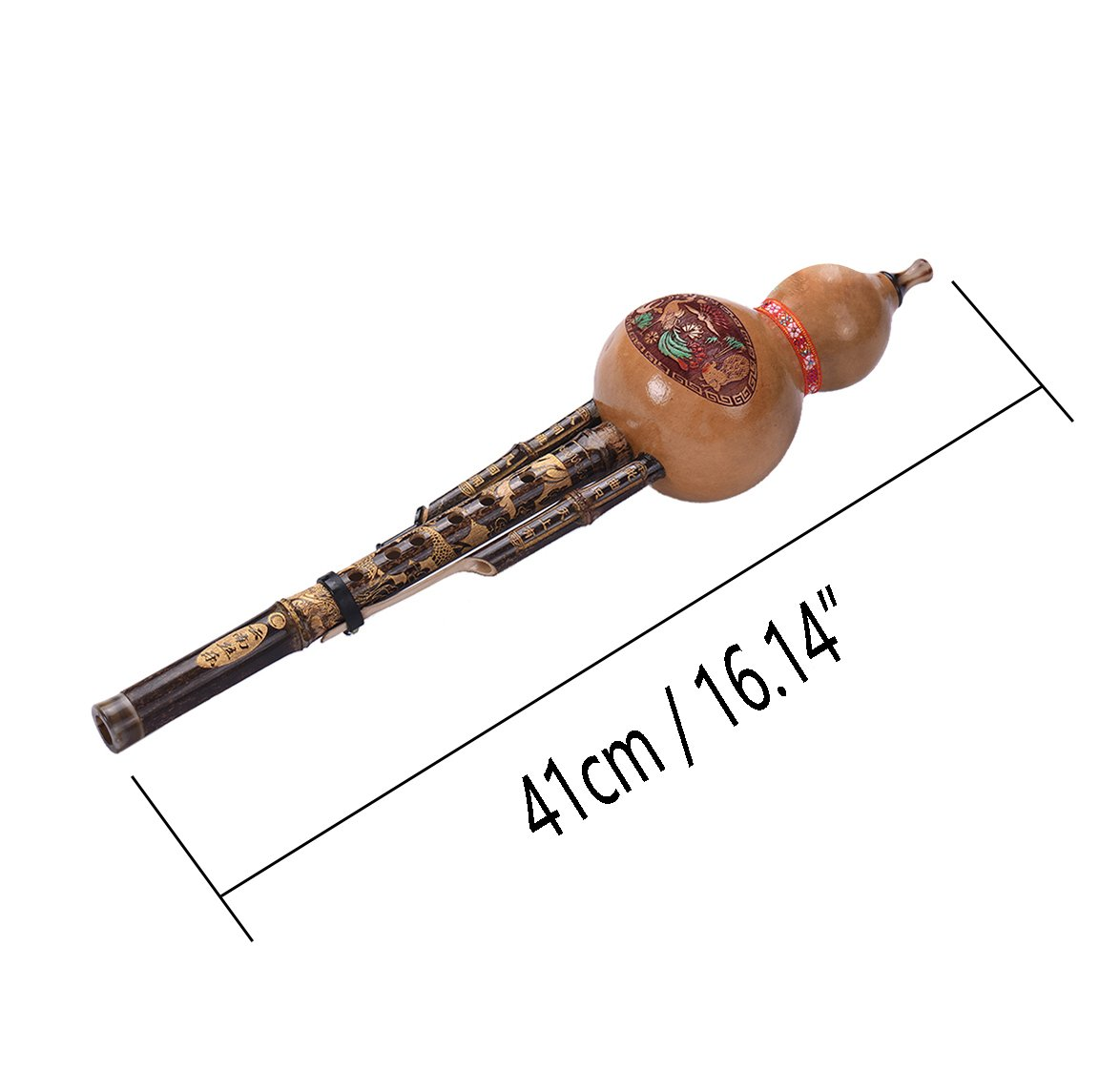 Timiy Chinese Traditional Instrument Handmade Hulusi Bamboo Gourd Cucurbit Flute with Case (C Key)