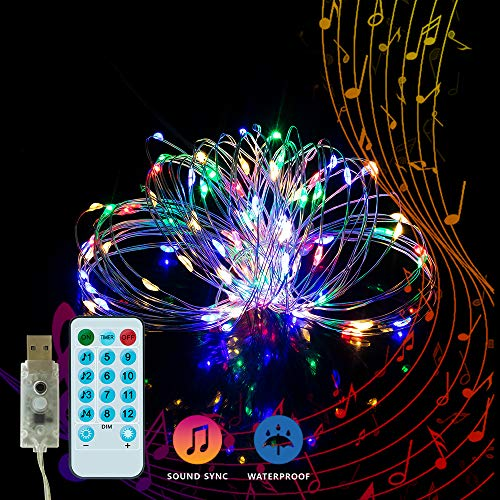 YOZATIA 32.8ft Sound Activated Music LED String Lights, Waterproof Silver Wire Multicolor 100LEDs 12 Modes USB Powered Fairy Lights with Remote Control for Home Party Birthday Wedding Decor