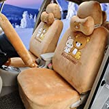 1 set great cartoon automotive car seat covers brown hand brake cover rearview mirror cover