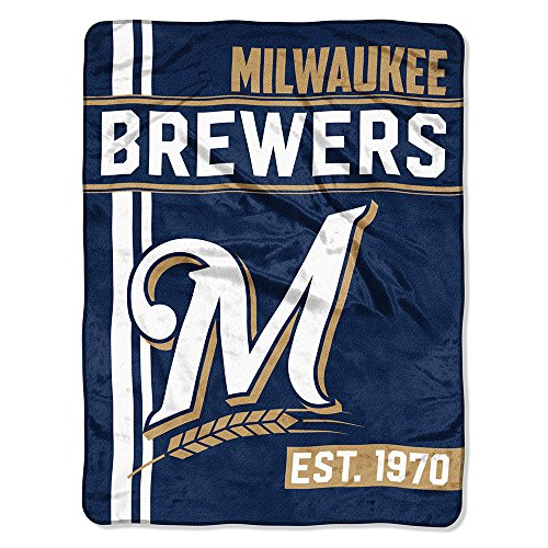 Milwaukee Brewers Bedding - The Northwest Company MLB Milwaukee Brewers Micro Raschel Throw, One Size, Multicolor