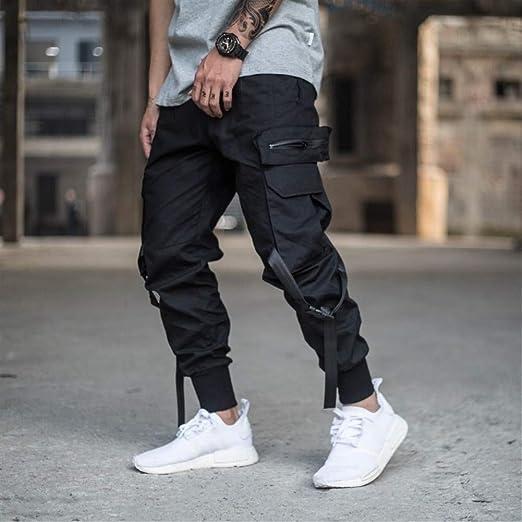 FANGLING-Trousers Pantalones Casuales de Calle Mens Multi-Bolsillo ...