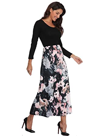 a7c63a35f7dc Anienaya Women s Retro Contrast Long Sleeve Top Boho Floral Print Casual  Long Maxi Dress Ethnic Style at Amazon Women s Clothing store