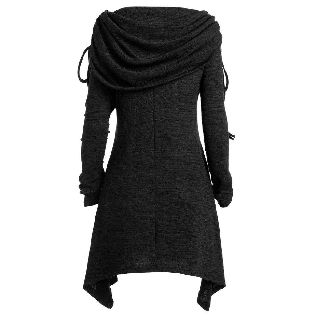 BeautyVan—Winter Sweater Plus Size Womens Solid Pullover Ruched Long Foldover Collar Tunic Long Top Blouse Sweatshirt