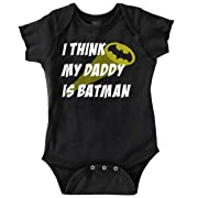 Brisco Brands My Daddy is Bat Cute Fathers Day Comic Hero Romper Bodysuit