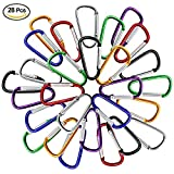 "28pcs/Bag Aluminum Carabiner,DLAND 28pcs 2""/5cm Assorted Colors D Shape Spring-loaded Gate Aluminum Carabiner for Home, Rv, Camping, Fishing, Hiking, Traveling and Keychain"
