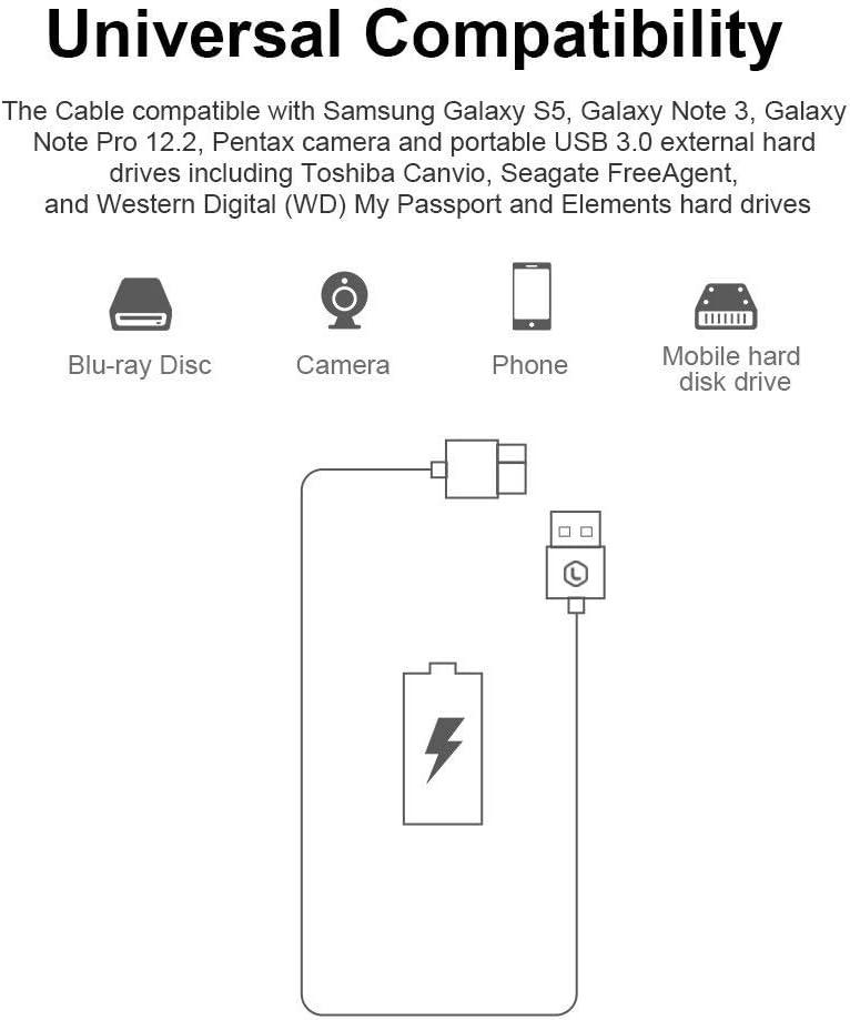 Disque dur externe WD 1m PIHEN Micro B C/âble C/âble de synchronisation USB 3.0 /à Micro USB 3.0 avec connecteur en aluminium pour Toshiba Canvio Samsung Galaxy S5