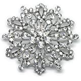 Katie's Style Silvertone Rhinestone Crystal Snowflake Corsage Brooch Pin