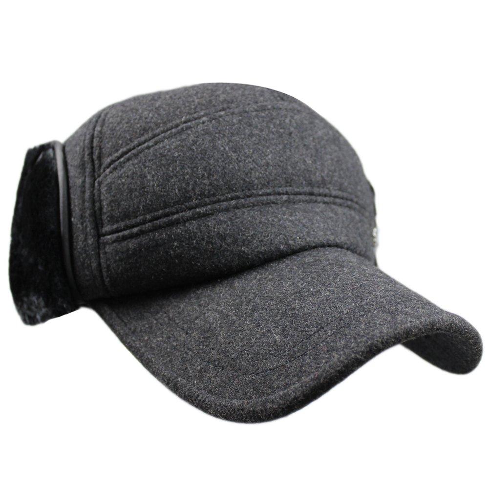 Men Winter Warm Wool Outdoor Baseball with Earflaps Fleece Earmuffs Ball Cap Hat HT_THRLY_BLK_00