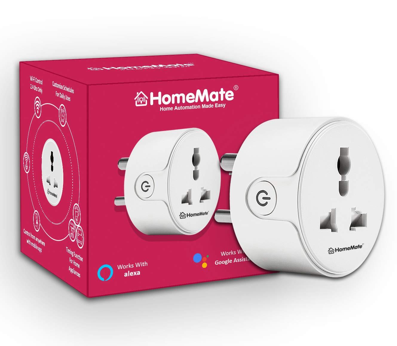 HomeMate WiFi Smart Plug Socket | Works with Amazon Alexa and Google home | 10A