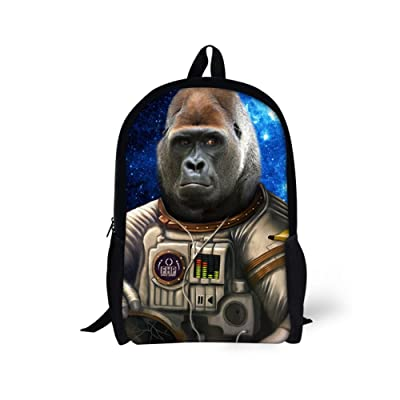 ThiKin Funny Students King Kong Tiger Backpack Kids Bookbag high-quality
