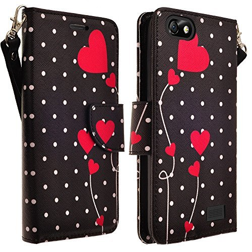 Huawei Raven LTE H892L Case, Huawei Raven LTE H892L Wallet Case [Book Fold] Leather Cover [Flip Cover] with Foldable Stand, Pockets for ID, Credit Cards - Flip Case (POLK DOTS WITH HEARTS)
