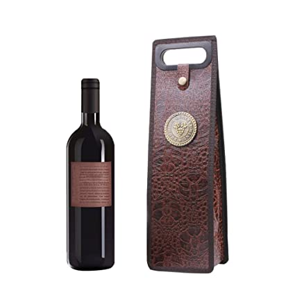 Amazon.com: Morrivoe Wine Bottle Holder Leather Tote Gift ...