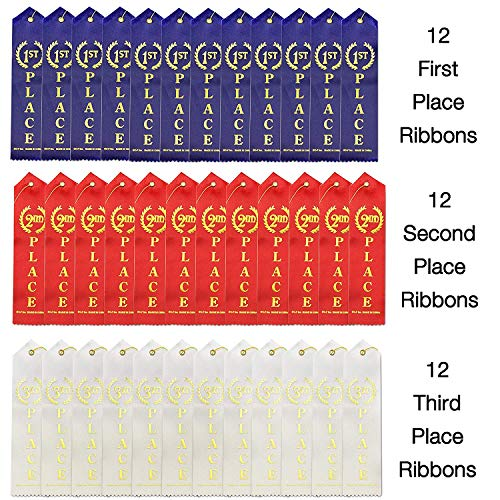 J&J's ToyScape 36 Pcs Award Ribbons with a Card and String (1st Place (Blue), 2nd Place (Red), 3rd Place (White) - 12 Each; Size: 8.6