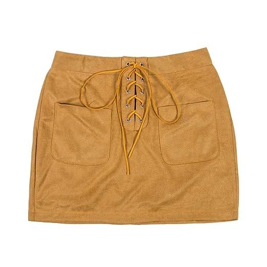 QZBTU Faldas Mujer Faldas De Cintura Alta con Cordones De Ante De ...