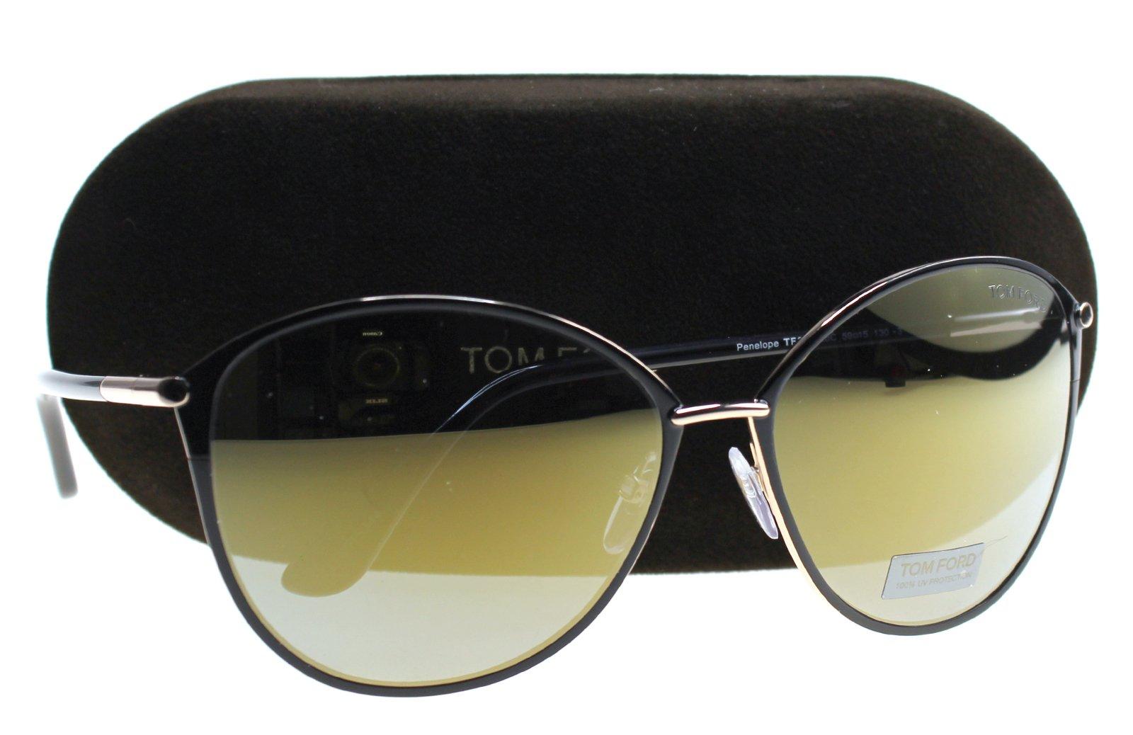 Tom Ford FT0320 Penelope Sunglasses Dark Brown w/Smoke Gold Mirror Lens 28C FT320