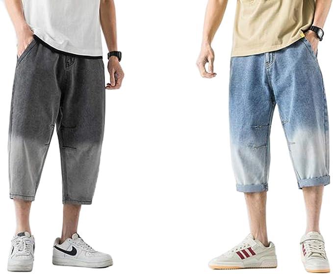 [えみり] メンズ デニムパンツ 7分丈 ショートパンツ 2点セット グラデーション ジーンズ サルエル ズボン ゆったり 大きいサイズ カジュアル お洒落 ファッション