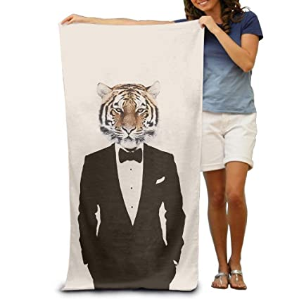 DEFFWBb Super Absorbent Beach Towel Tiger Gentleman Polyester Velvet Beach Towels 31.551.2 Inch