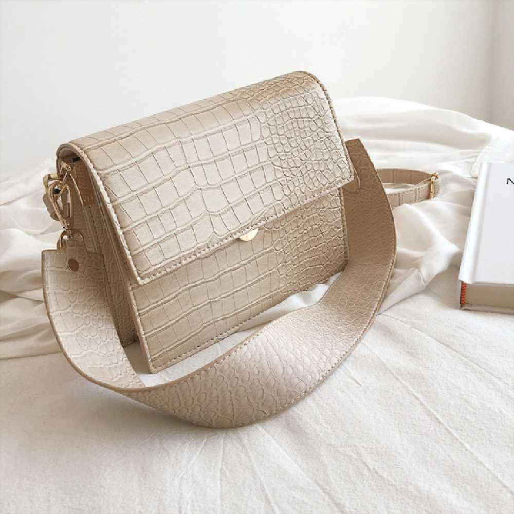 wangtao Frauen Flap Square Bag Hochwertige Leder Crocodile Schulter Crossbody Bag