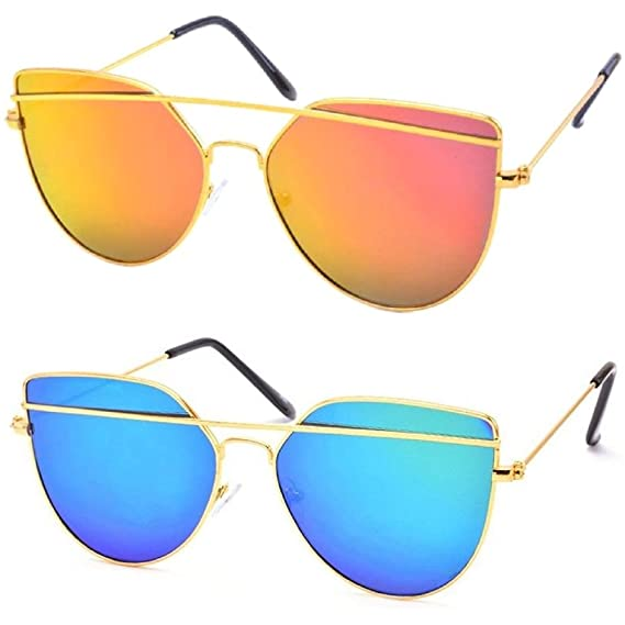 136a24d084 Silver Kartz Combo of 2 Mirrored Exclusive Double-Bar Aviator Unisex  Sunglasses(Wy145-146