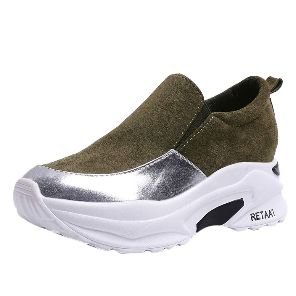 Dacawin Trend Women Increase Platforms Interior Heighten Slip-on Pumps Casual Comfortable Shoes