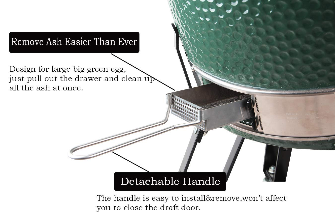 Dracarys Big Green Egg Accessories Ash Tool Slid Out ash Drawer Stainless Steel for Large Big Green Egg Accessories BGE Accessories Green Egg Replacement Parts ash Clean Tool