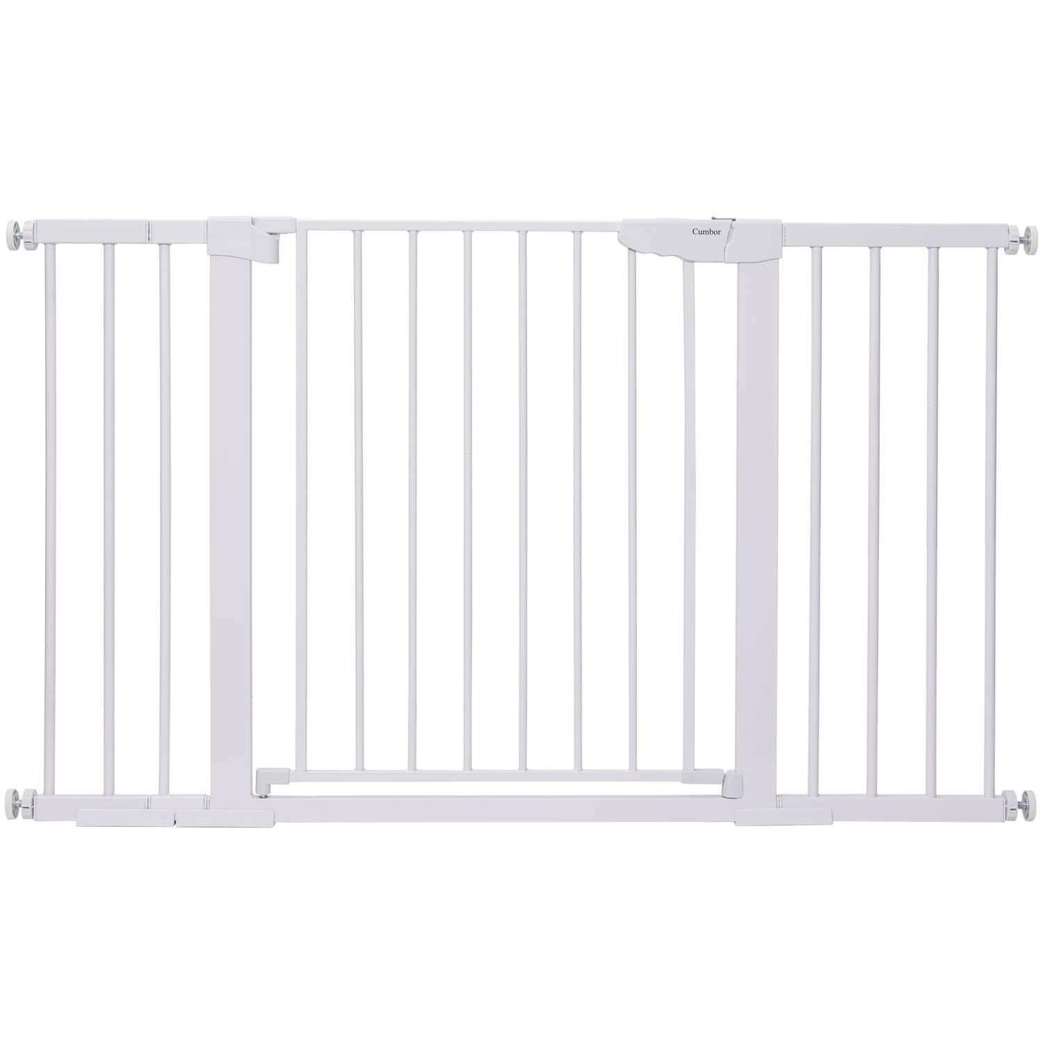 """Cumbor 51.6-Inch Baby Gate Extra Wide, Easy Walk Thru Dog Gate for The House, Auto Close Baby Gates for Stairs, Doorways, Includes 2.75"""", 5.5"""" and 11"""" Extension Kit, Mounting Kit"""